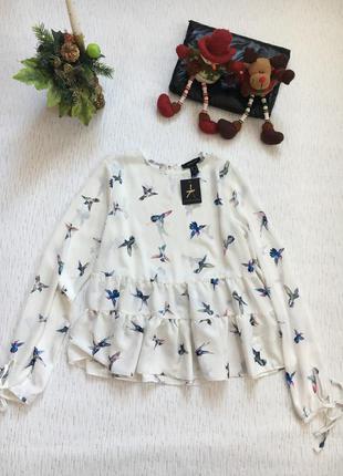 Шикарная блуза с птицами s- m размер . новая
