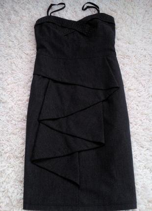 Сарафан платье футляр с воланом