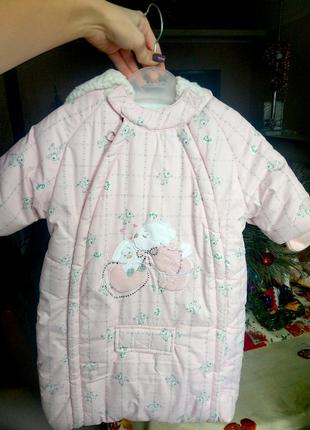 Безумно красивый и нежный зимний комбинезон-конверт для новорожденной девочки, 62р.
