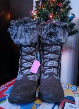 Теплые зимние замшевые сапоги skechers