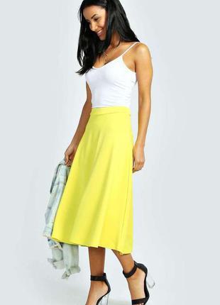 Желтая юбка миди boohoo