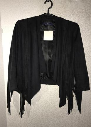 Куртка с бахромой, замш