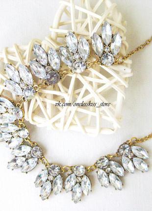 Колье , ожерелье, подвеска с кристаллами, цепочка