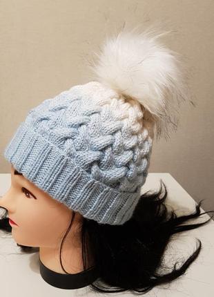 Новая вязаная шапка градиент с бубоном