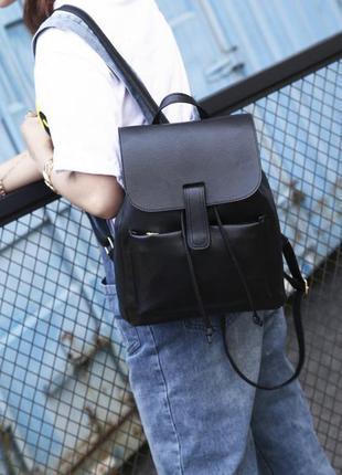Удобный стильный черный рюкзак мешок на затяжках