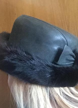 Шапка шляпа норковая кожаная