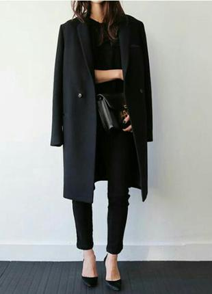 Черное пальто бойфренд, oversize, boyfriend оверсайз, на запах от asos, s, m