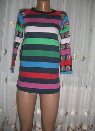 Трикотажная футболка в полоску на девочку 9-10 лет