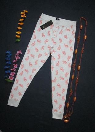 Трикотажные подростковые домашние пижамные брюки принт кролики f&f