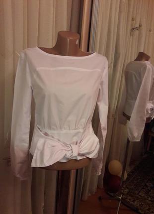 Котоновая белая рубашка с бантом