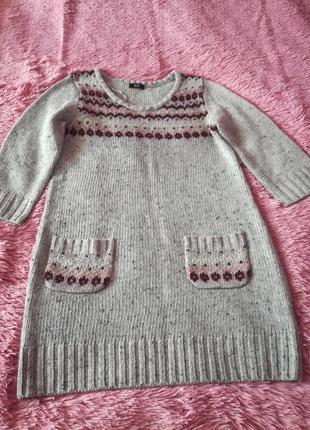 Теплое платье- туника, платье с длинным рукавом