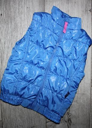 Синяя жилетка для девочки без капюшона 5-6 лет, рост 110-116 см.
