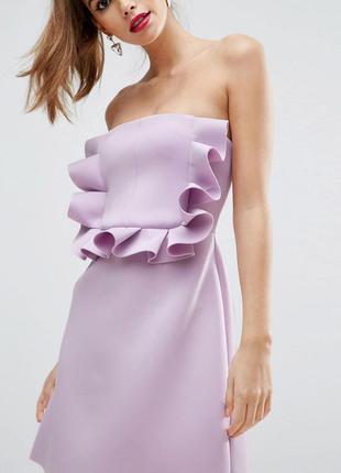 Asos лиловое платье оригинальный перед