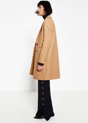 Базовое пальто zara woman шерсть