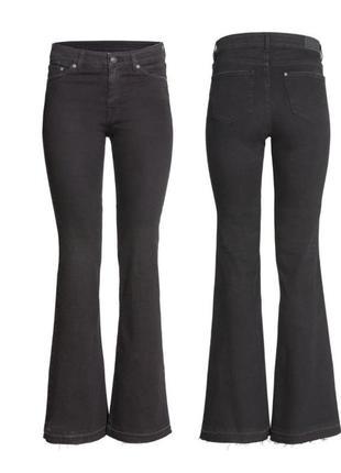 Черные джинсы h&m,черный джинси 33 размера,черные расклешенные джинсы h&m