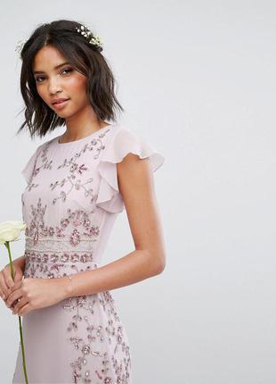Maya лиловое макси-платье бисер и пайетки