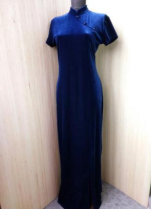 Французское вечернее синее нарядное  длинное велюровое платье с воротником s/m