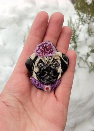 Брошь - brooch - вышивка ручной работы брошь собака