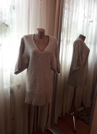 Теплое платье с оригинальным рукавом