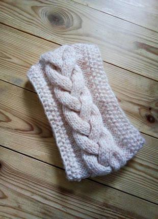 Красивая теплая вязана повязка коса hand made шерсть.