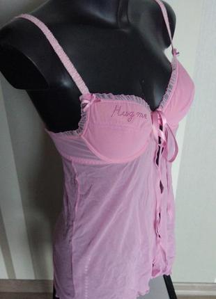 Клевый розовый пеньюар с бюстом на паралоне