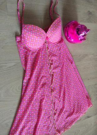 Клевый розовый пеньюар с бюстом на паралоне спереди застежка крючок