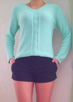 Красивый свитерок бирюзового цвета, размер с-м