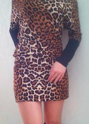 Стильное мини платье леопардовая расцветка