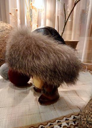 Классная  шапка с натуральным мехом