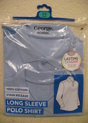 Новый брендовый школьный поло/реглан george, англия, 100%коттон, 5-7 лет