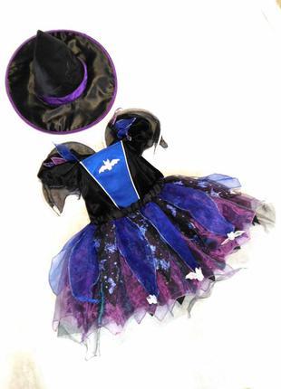 Карнавальное платье летучая мышь на хэллоуин 3-5 лет с крыльями
