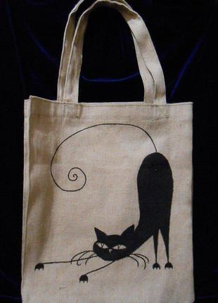 Эко-сумка, торба из парусины, ручная работа, роспись