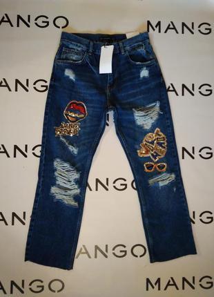 Zara  рваные джинсы с вышивкой
