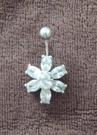 Пирсинг пупка. серебро 925.