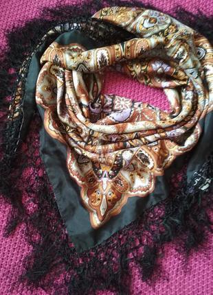 Шикарный шелковый большой платок парео с бахромой от jl by v fraas
