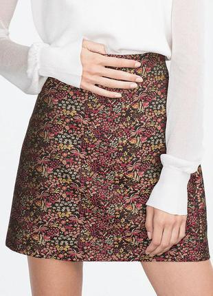 Красивая парчовая юбка zara зара