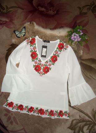 Нарядная блузка-вышиванка принт, размеры