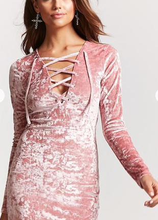 Пудровое велюровое платье forever 21