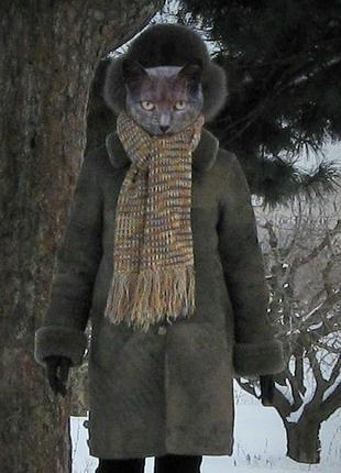 Дубленка оверсайз, бойфренд. натуральная (овчина) турция. серая m, 44 (38)