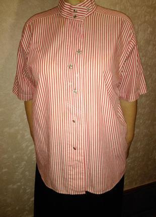 Блуза в полоску воротник стойка