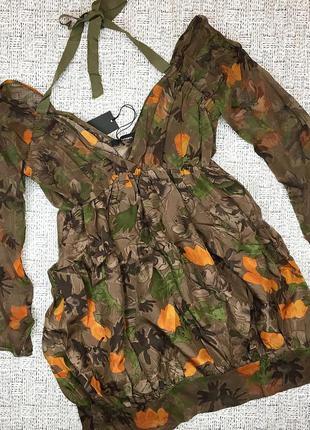 Италия! нарядная шелковая блуза, туника с открытой спиной, stefanel, m