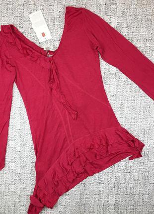 Скидки! италия! яркая блуза туника из вискозы и шелка, s, натуральная ткань,