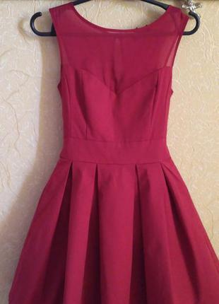 Платье выпускное, вечернее бордовое, марсала, пышная юбка