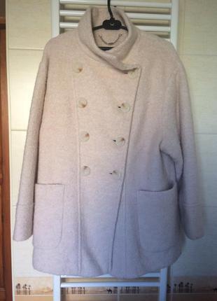 Пальто oversize next, размер 14-16, цвет пудры, в составе шерсть