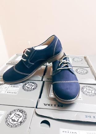 Синие туфли из кожи нубук mida 31124(12)
