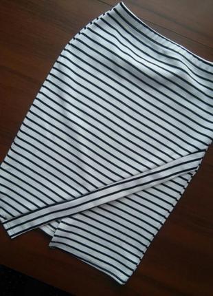 Белая юбка boohoo в полоску