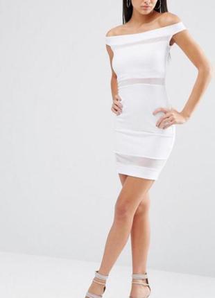 Белое платье миди с открытыми плечами вечеринка/день рождения/ свадьба/корпоратив/asos