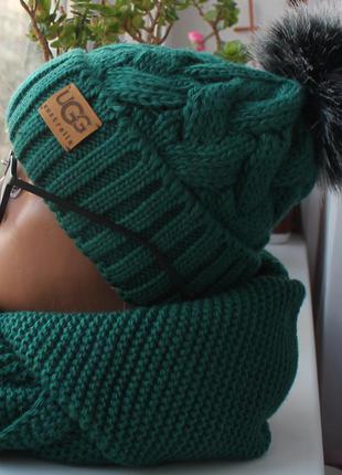 Новый комплект: шапка с помпоном (на флисе) с хомутом восьмерка, зеленый