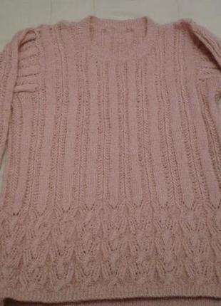 Вязаный нежно розовый ажурный джемпер 50 размер