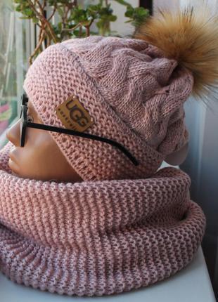 Новый комплект: шапка с помпоном (на флисе) с хомутом восьмерка, пудра